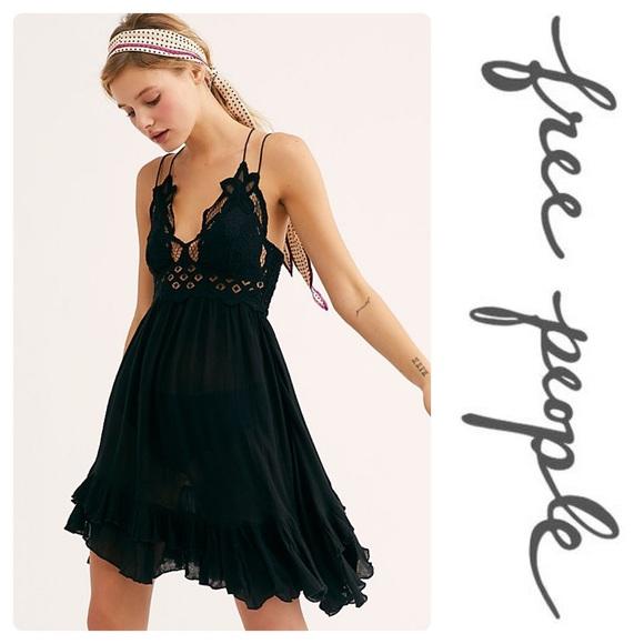 e58f6df0e38f Free People Dresses | New One Adella Slip Dress Black Lace | Poshmark